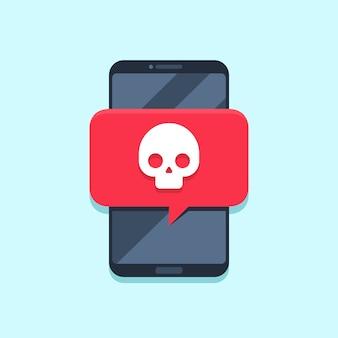 Notifica virus sullo schermo dello smartphone. messaggio di avviso, attacco spam o notifiche di malware. concetto di vettore di virus smartphone