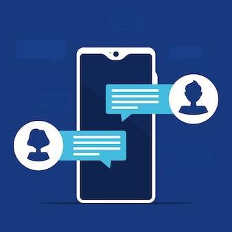 Notifiche dei messaggi di chat sul cellulare con avatar uomo e donna. isolato su sfondo blu