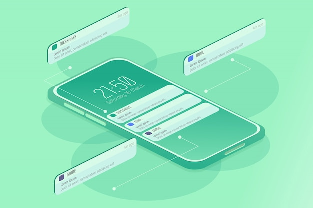 Notifiche sullo smartphone isometrici