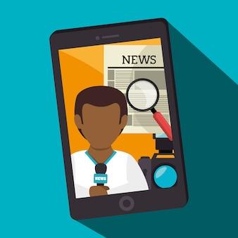 Notizie di mass media su cellulare