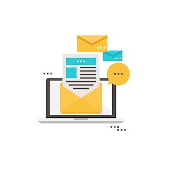 Notizie di posta elettronica, abbonamento, disegno di disegno di vettore piatto di promozione. icona della newsletter piatta