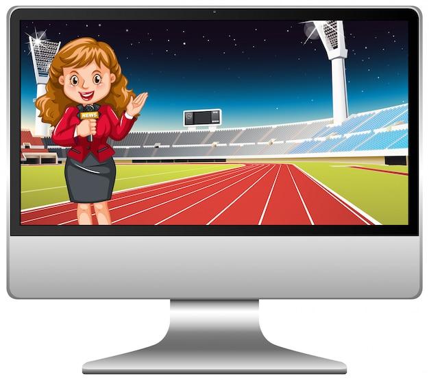 Notizie di sport sullo schermo del computer isolato