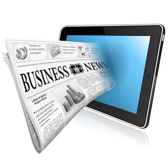 Notizie digitali con giornali e tablet pc