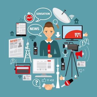 Notizie e concetto di giornalista