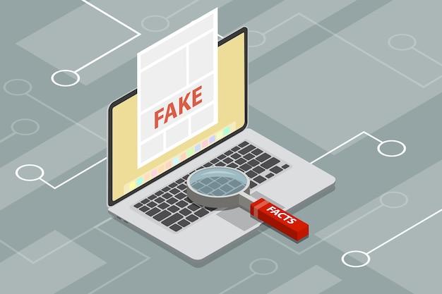 Notizie false o scansione di fatti con lente di ingrandimento
