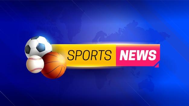 Notizie sportive con sfondo astratto ed elementi sportivi