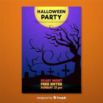Notte del poster di halloween nel cimitero