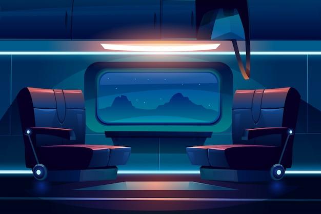 Notte del treno all'interno del pendolare ferroviario vuoto interno