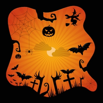 Notte di halloween, castello nero sui precedenti della luna, illustrazione.