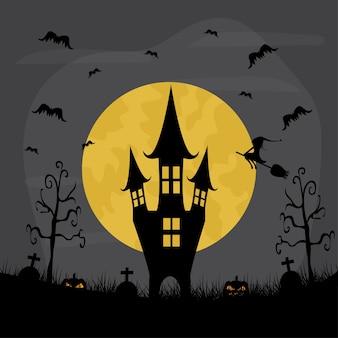 Notte di halloween con fullmon. illustrazione del castello di halloween.
