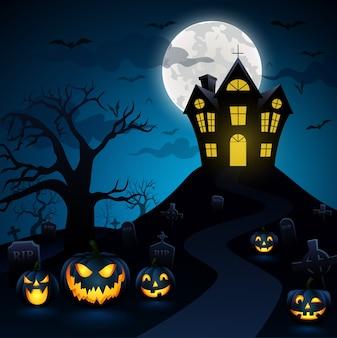 Notte di halloween con una zucca in background