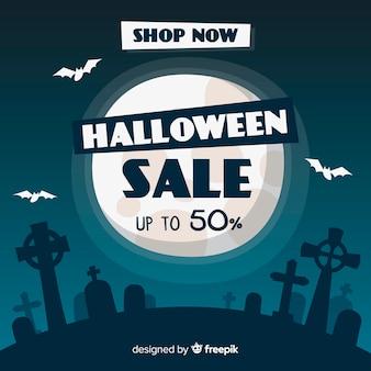 Notte di luna piena di vendita di halloween disegnata a mano