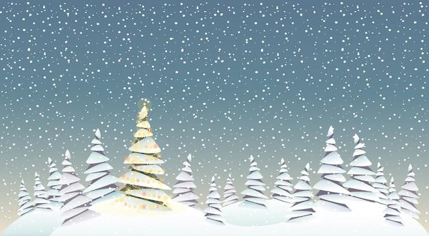 Notte di natale e paesaggio dell'illustrazione degli alberi