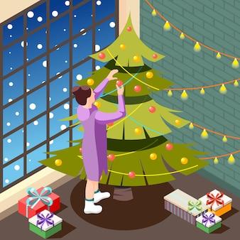 Notte di natale in isometrico interno domestico accogliente con la persona femminile che decora l'illustrazione dell'albero di festa