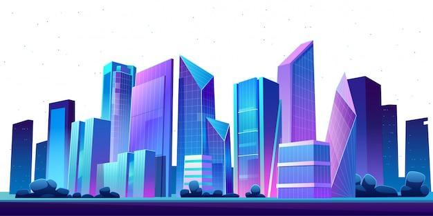 Notte panoramica dell'orizzonte della costruzione urbana