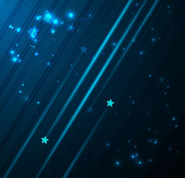 Notte profonda del cielo blu scuro con le stelle che cadono