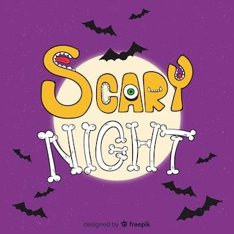 Notte spaventosa halloween scritte sullo sfondo