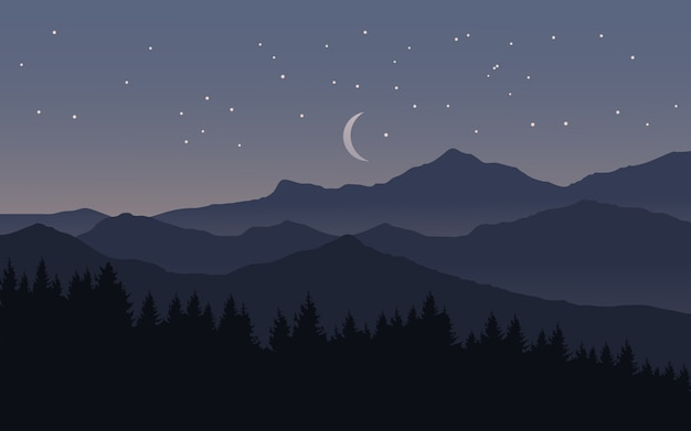 Notte stellata sopra la montagna con la luna e la foresta