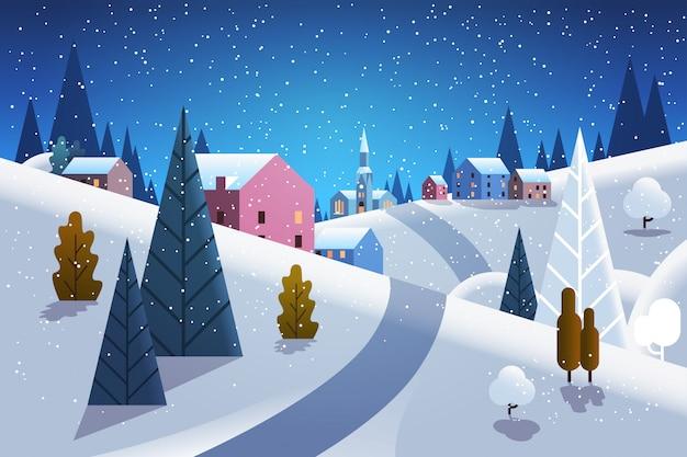 Notte villaggio invernale case montagne colline paesaggio nevicata sfondo orizzontale piatta