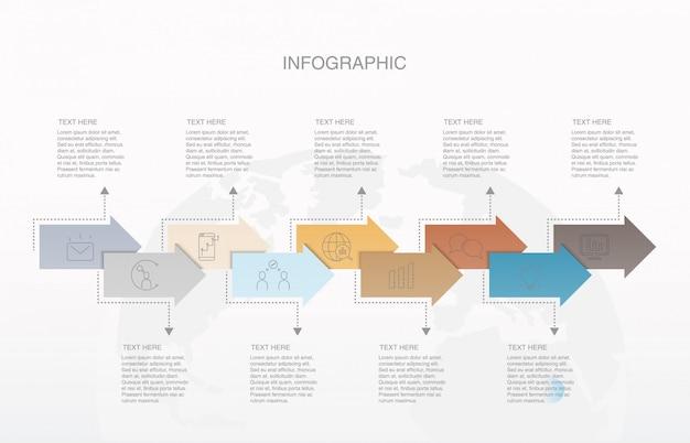 Nove elementi freccia moderna infografica per il concetto di business.