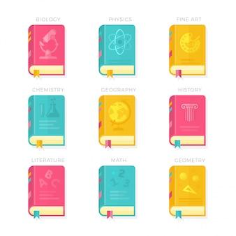 Nove icone dell'illustrazione di vettore delle coperture del libro di lezioni di lezioni della scuola messe