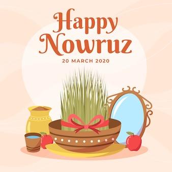 Nowruz felice disegnato a mano ed erba in ciotola