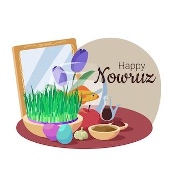 Nowruz felice disegnato a mano