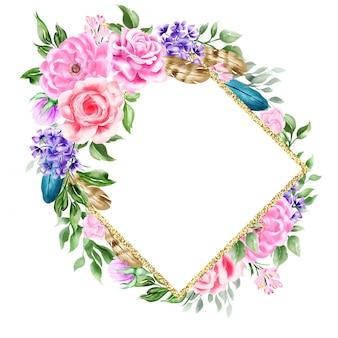Nozze floreali dell'illustrazione del fiore della struttura del confine dell'intestazione di boho dell'acquerello