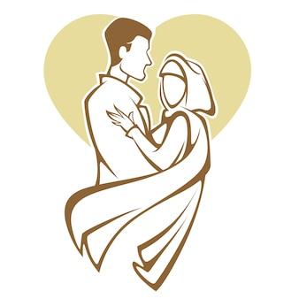 Nozze musulmane, sposa e sposo, coppia romantica nell'illustrazione di stile elegante