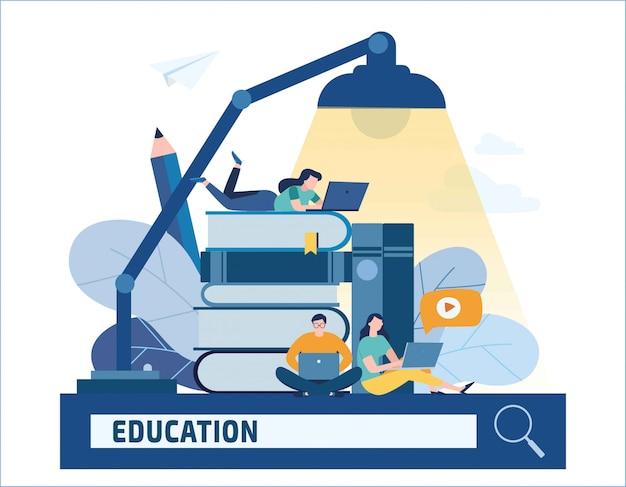 Nternet studia il concetto di e-learning di tutorial di libri. giovane studente con laptop