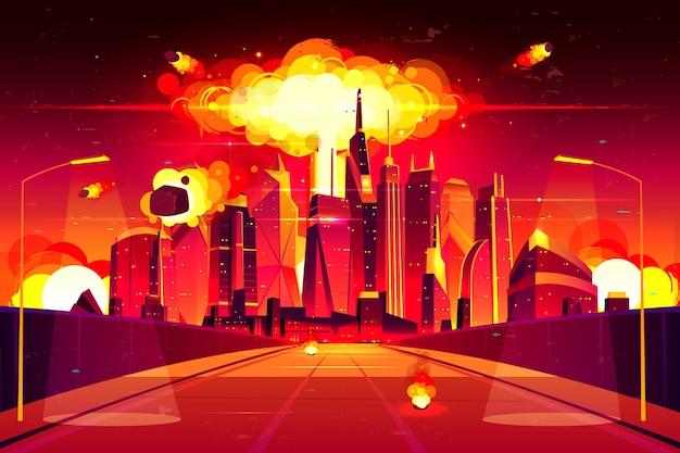 Nube di fungo ardente di detonazione di bomba atomica che alza sotto i grattacieli.