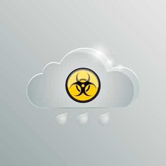 Nube pericolosa nube di gas velenoso con un segno di pericolo biologico