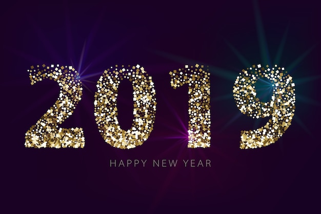 Numeri 2019 con glitter dorati su sfondo scuro. bandiera di nuovo anno con effetti di luce.