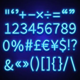 Numeri al neon luminosi, simboli di testo e segni di valuta, font.