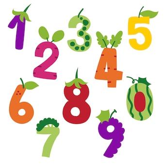 Numeri arabi e disegno vettoriale di frutta