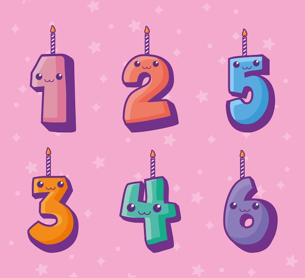 Numeri candele personaggi kawaii comici
