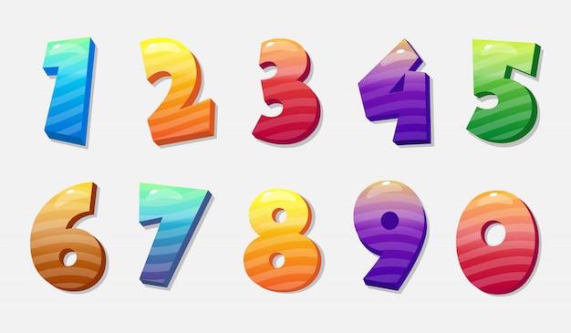 Numeri colorati vettoriali imposta da 0 a 9