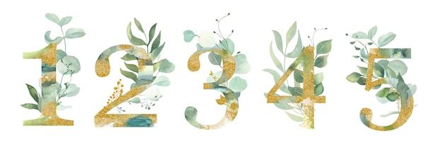 Numeri con foglie.