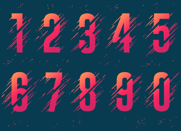 Numeri con spruzzi e gocce di liquido