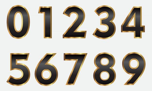 Numeri d'oro e neri di lusso