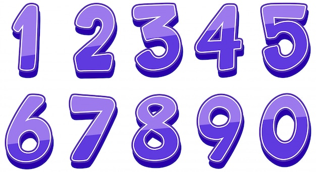 Numeri da uno a zero su bianco