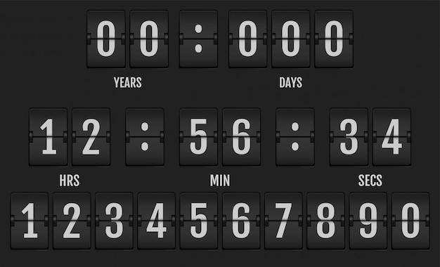 Numeri dall'alfabeto meccanico del tabellone segnapunti.