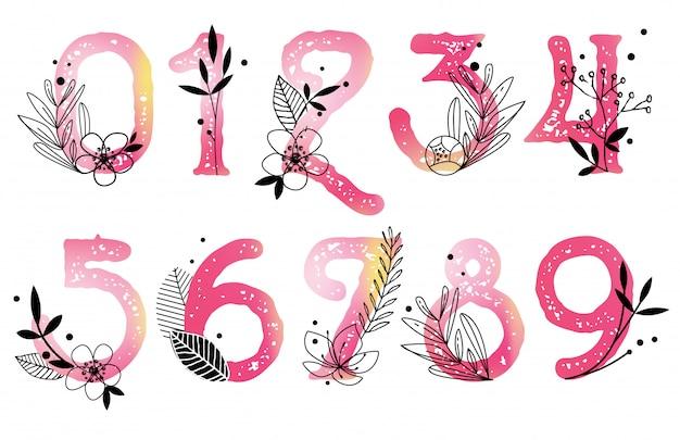 Numeri di acquerello vettoriale con fiori