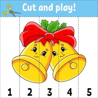 Numeri di apprendimento 1-5. taglia e gioca. campane di natale. foglio di lavoro per l'istruzione.