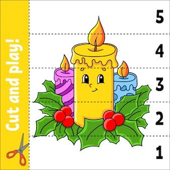 Numeri di apprendimento 1-5. taglia e gioca. candele natalizie. foglio di lavoro per l'istruzione. gioco per bambini.