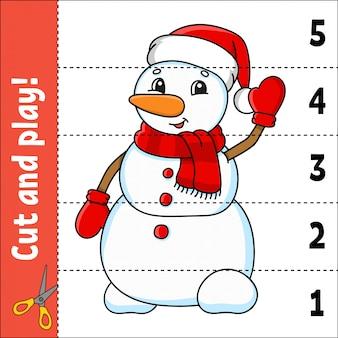 Numeri di apprendimento 1-5. taglia e gioca. simpatico pupazzo di neve. foglio di lavoro per l'istruzione.