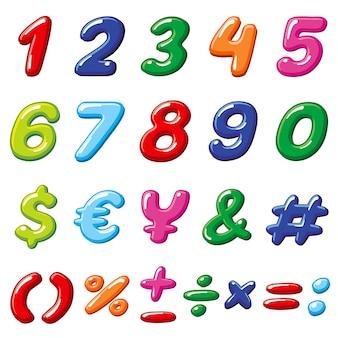 Numeri di caramelle arcobaleno di vettore e simboli alfabeto lucido bambini divertenti dei cartoni animati
