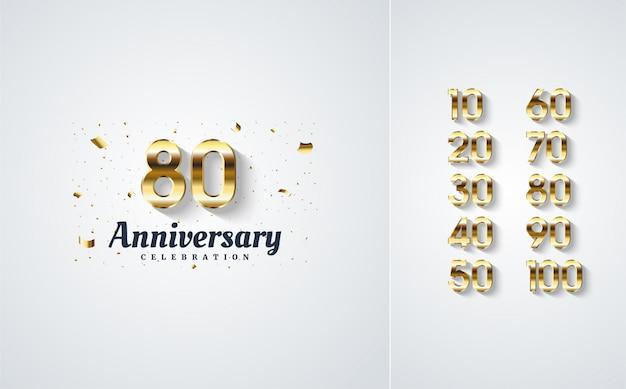 Numeri di celebrazione con l'oro.