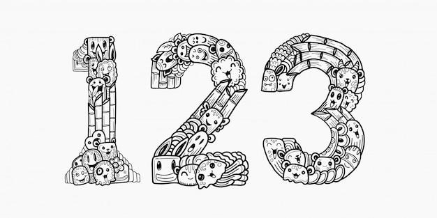 Numeri di mostro scarabocchi disegnati a mano