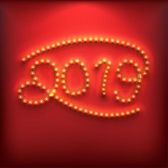 Numeri di nuovo anno 2019 fatti di lampadine